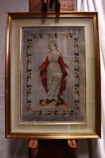 Quadro a mezzopunto raffigurante soggetto religioso con corallini embroidery