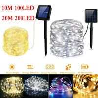 100/200 LED Solar Powered String Fairy Lights Outdoor Party Xmas Tree Waterproof