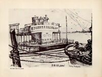 New Orleans Ferry Boat To Algiers Pencil Sketch Print R Misselhorn