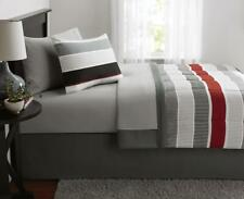 6 Piece Twin Size Comforter Set Red Grey Boys Bedding With Sheets Bed Skirt