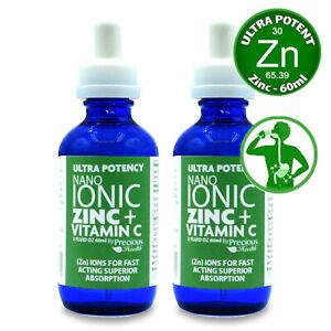 Ultra Potent High-Strength Nano Ionic Liquid Zinc + Vitamin C, 2 x 60ml