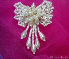 0036 Petite Ivory Bow Sequin Beaded Applique Dangles