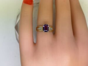 .75CTTW Natural Amethyst W/ Diamonds I1 G 10kt Yellow Gold Ring, size 6