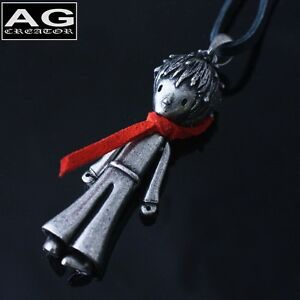 """The little prince red scarf vintage style pendant 30"""" black leather necklace"""