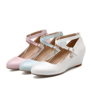 Lolita Platform Wedge Heels Womens Mary Janes Cross Strap Buckle Sweet Shoes NEW