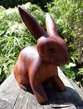 More details for fair trade hand carved made wooden wood garden rabbit hare bunny statue ornament