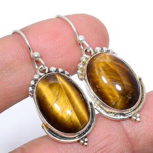 "Thai Tiger'S Eye Vintage 925 Sterling Silver Jewelry Earring 1.46"" JE509-69"