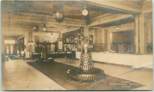 "CHICAGO, Illinois RPPC Real Photo Postcard ""Lobby, STRATFORD HOTEL"" 1908 Cancel"