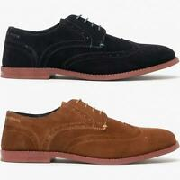 Silver Street London HOBART Mens Genuine Suede Lace Up Brogue Derby Shoes