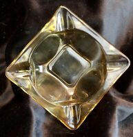 "VINTAGE GOLD AMBER SMALL SQUARE GLASS ASHTRAY 3 1/2"" MID CENTURY MODERN RETRO"