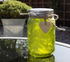 Firefly Mason Jar with LED lights that mimic firefllies - Frosted Green