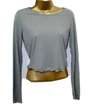 Sexy Rubbed Crop Top 12 Long Sleeve Shirt Khaki Grey Ribbed Stretchy Curled Hem