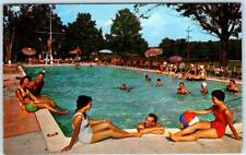 ECHO LAKE, Pennsylvania  PA   ECHO LAKE FARMS HOTEL Swimming Pool 1961 Postcard