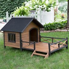 Outdoor Large Dog House Kennel All Weather Wooden Raised Floor Spacious Deck