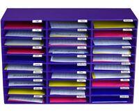 AdirOffice Purple Office Classroom File Paper Organizer 30 Slot Sorter