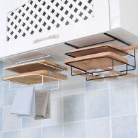 BG_ KE_ Kitchen Double Layer Chopping Board Storage Rack Towel Shelf Cabinet Han