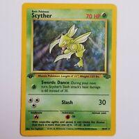 Scyther 1st Edition Holo Rare Pokemon Card - 10/64 Jungle Set - LP/EXC