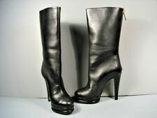 CHANEL Black Leather Knee High Round Toe Pearl HEELS Gold ZIPPER BOOTS 38.5