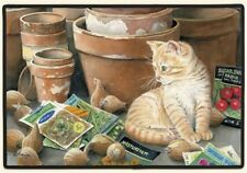 "DOORMAT-CAT Design-18"" X 27""--Nelson & Flower Pots by Fiddler's Elbow"