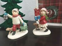 CHRISTMAS Holiday Children Playing Resin Figurines Tabletop Decor Set of 2