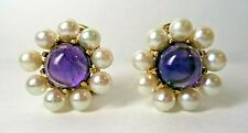 Amethyst Cabochon & Pearl Clip Earrings, Omega Back, 14k Yellow Gold, Vintage