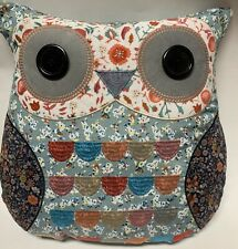 Cynthia Rowley Owl Pillow Soft Throw Blue Red White Button Eyes