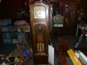 ANTIQUE CROSLEY GRANDFATHER CLOCK-ALL WOOD-ALLORIGINAL WORKS!