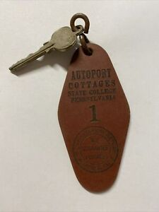 Vtg Autoport Cottages Hotel Russwin Room Key & Fob State College Pennsylvania