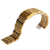 20/22/24mm Gold Stainless Steel Shark Mesh Replacement Bracelet Strap Wristband