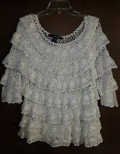 Beautiful off White Ruffle Crochet Cotton Sweate size Med   Denim  24 7 Roamans