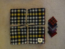 Felted Wool Bundle (Qty 10) 10 x 10 in Assorted Plaid Colors pkg #19A