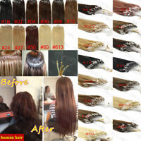 Micro Loop Ring Beads Tip Remy Human Hair Extensions Black Brown Blonde Thick 1g