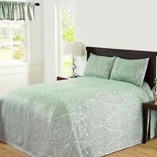 QUEEN - Carriage House Danbury Green Paisley Weave VALANCE, SHAM & BEDSPREAD SET
