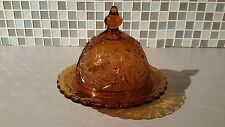 """VINTAGE INDIANA GLASS """"TIARA"""" ROYAL AMBER DAISY ROUND BUTTER/CHEESE DISH W/LID"""