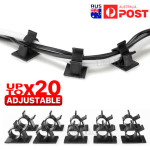 Adhesive Cord Management Cable Clips Black Wire Holder Organizer Clamp AU