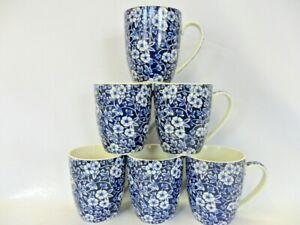 set of 6 china Aspen mugs in Blue Victorian calico design