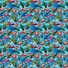 Fabulous Flamingos on Blue B/G-Bird of Paradise-BTY-Paintbrush Studio