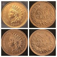 1903 & 1904 INDIAN HEAT PENNYS  4  SHARP DIAMONDS  ***BEAUTIFUL COINS***Cleaned