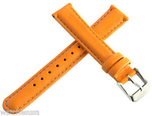 Invicta Womens 16mm Orange Lorica Watch Band Strap Silver Pin Buckle