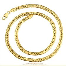Classic 18k Yellow Gold Filled GF Snake Bone Chain Necklace Woman Man N446