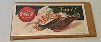 Vintage Coca Cola Cardboard 1953 Advertising Sign 7.5x3.5 Litho In USA