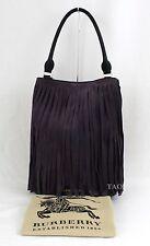Burberry Prorsum Runway Suede Leather Fringe LL Bucket Tote Bag Handbag Purple