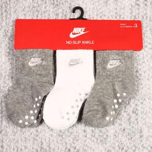 Nike 3 Pair Baby INFANT NO-SLIP ANKLE Socks infant size 12-24 months