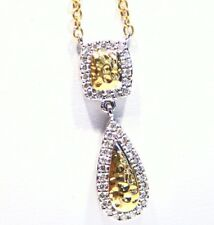 Designer 14K Gold Natural Fancy Cut Diamond Vintage .22CT Engagement Necklace