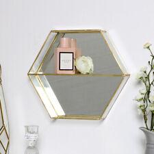 Gold mirrored display shelf hexagon boho chic shelving unit boho chic home decor