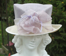 MOTHER OF THE BRIDE ASCOT CLASSIC MILLINERY LILAC CREAM STRAW HAT FEATHERS