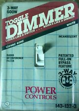 Toggle 600 W Dimmer Toggle 3 Way White Switch Incandescent New