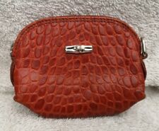 Longchamp Women's Orange Croc Textured Leather Coin Purse Used Condition