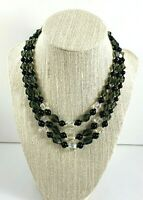 Vintage Glass Bead Necklace Clear Crystals Black Smoky Green Three Strands