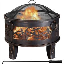 More details for fire pit bowl with bbq grill & spark guard lid & poker for heating picnic bronze